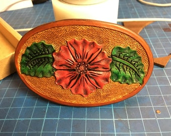 Hand carved flower and leaf barrette