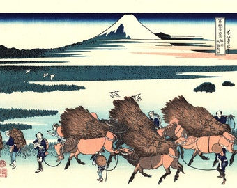 "Japanese Ukiyo-e Woodblock print, Katsushika Hokusai, ""Ōno Shinden in the Suruga Province, Thirty-six Views of Mount Fuji"""