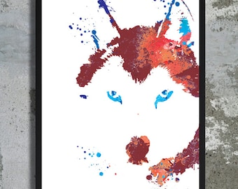Brown Husky Watercolor Art Print Dog Watercolor Husky painting Husky poster Husky art Dog Portrait Dog poster Husky print Dog wall decor