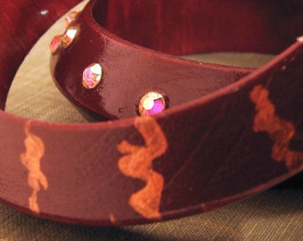 Bracelet Set, Stackable Bracelets, Wooden Bangle, Bangle Set, Sangria Red, Fiery Orange,