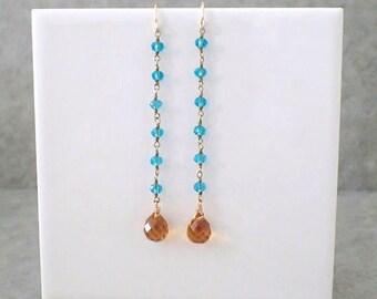 Long Aqua Blue Apatite Dangle Earrings With Amber Quartz, Apatite Earrings, Amber Earrings, Long Dangle Earrings, Earrings Gemstone Earrings