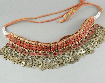 antique KUCHI  EAST INDIAN tribal  necklace choker /  Ragesthan  / India / belly dancing No.002044 cs