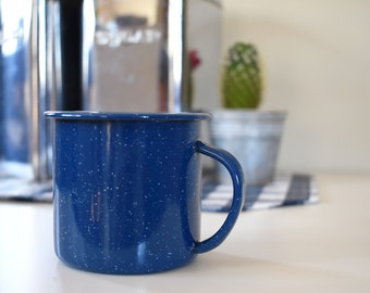 Blue Campfire Mug / Speckled White / Cup / Metal / Camping / Outdoorsy / Screen Printing / DIY / Vintage / Retro / Backpacking / RV / Nature