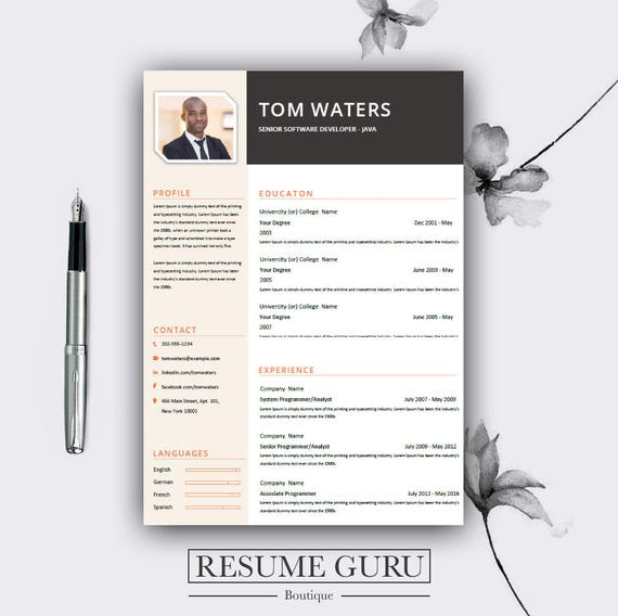 Professional Creative Resume Template Cover Letter for MS