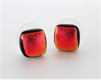 Dichroic Glass Tiny Red Orange Blend Earrings Sunny Stud Earrings with a Blend of Red andOrange for a Tropical Look Dichroic Fused Glass