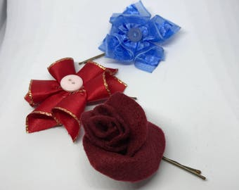 Flower hair clips - pack of three.