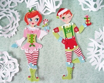 DIY Printable Christmas Elf paper doll ornament gift tag PDF Scrapbooking Party Decorations