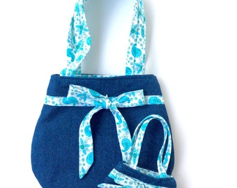 Matching 18 Inch Doll and Girl Purses, Denim Purses for Doll and Girl