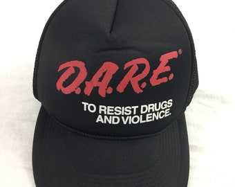 Vintage 90s Dare To Reists Drugs And Vlolence Black Mesh Track Hat