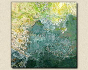 """Contemporary art abstract giclee canvas print with gallery wrap, 24x24 to 36x36 in blue, green and aqua, from abstract painting """"Sea Side"""""""