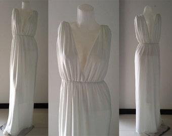 White Sleeveless V-neck  sun beach Long maxi dress all size