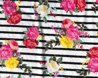 Black white stripes with Roses stretchy knit  Fabric, Easter floral knit, floral knit fabric, pi k flower jersey knit,