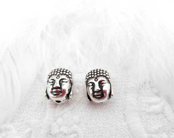 2 x beads 11 mm silver plated Buddha.