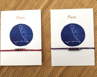 Necklace pisces with card-signs of the Zodiac-contrails horoscopes-Several stones to choose-Also in English
