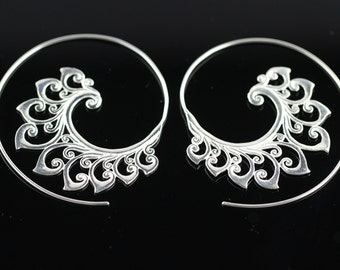 Silver Plated Brass Ethnic Earrings, Lightweight Spiral Hoop Boho Earrings, Silver Spirals SSA1