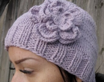 Knit Hat Womens Hat, purple Beanie Hat,Hand Knit Hat Womens Hat  ,crocheted flowers, Chunky Knit Winter Accessories