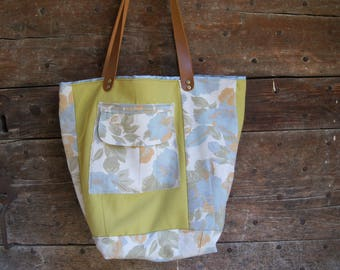 Tote bag, lime and green flowers, textile recycled