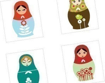 Mod Matryoshka Dolls - (1x1) One Inch (25mm) Pendant Images - Buy 2 Get 1 Free - Instant Download - Printable Digital Square Image Collage