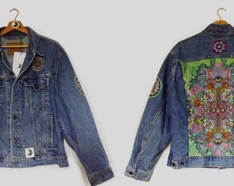 EXCLUSIVE: 1/15 Vintage Levi's Denim Jacket featuring sustainable and unique handmade panels and trims