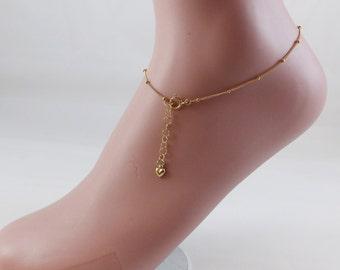 """New delicate high quality14K gold filled dew drops bracelet or anklet 7.5""""-11""""!"""