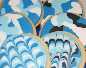 BLUE HUES - Decorated Sugar Cookies, Blue cookies, Custom cookies, homemade, edible gift, made to order, party favors, cookie favors