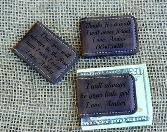 Father Of The Bride Gift Personalized Gift Daughter To Father Gift Daughter First Love Leather Money Clip Personalized With Message.