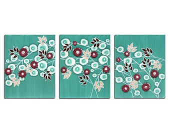 Triptych Wall Art Teal Painting on Canvas - 3D Flower Decor - Large 50x20