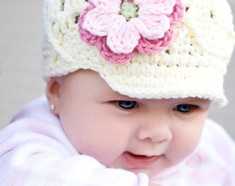 6-12 Months Ivory Newsboy Hat for Girls, White Beanie with Brim, Flower Beanie with Brim, Newsgirl Hat, Baby Hat with Brim, Childrens Hat