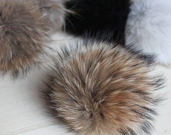 Pom pom Fur pom pom Natural pom pom Racoon pom pom Hat pom pom Natural racoon Original racoon Big pom pom