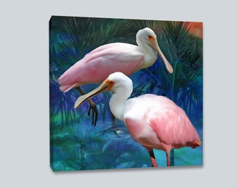 Roseate Spoonbills, Canvas, Bird Painting,  Tropical Birds, Pink Birds, Coastal Decor Canvas, Beach Art, Ready to Hang, Square Canvas