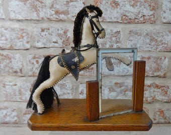 Art Deco Wooden standing picture frame with horse
