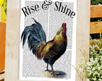 Rise and Shine Sign - Rooster Print - rooster kitchen decor rooster painting chicken art chicken decor chicken print gift for chicken lover