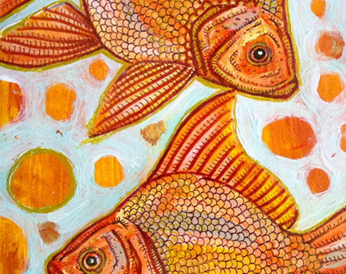Original Goldfish Painting by Artist Lynnette Shelley