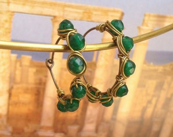 Byzantine jade earrings, wire wrapped antique style brass earrings, byzantine jewelry, jade jewelry gift for her, holiday jewelry
