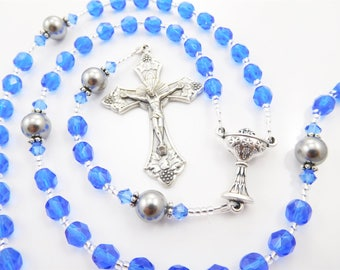 September Birthstone Rosary for a Boy - Sapphire Blue - Personalized Rosary - Baptism, First Communion, or Confirmation