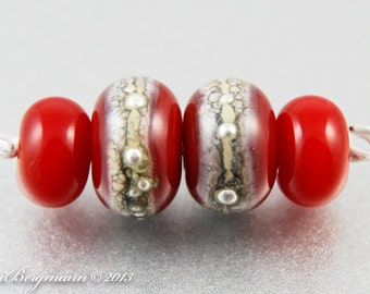 Silver Poppy Red Earring Beads with Spacers, Handmade Lampwork, Glass Jewelry Supplies