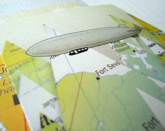 Set of three Map Illustrated Relocating Postcards