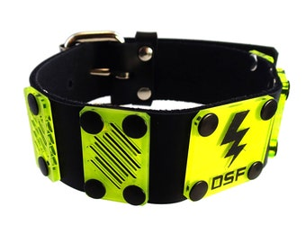 DSF LIMiTED EDITION Dissipate Plate Collar - Real Leather Choker - UV Plastic Yellow Cyberpunk Cybergoth Lightning Bolt Electric Electricity