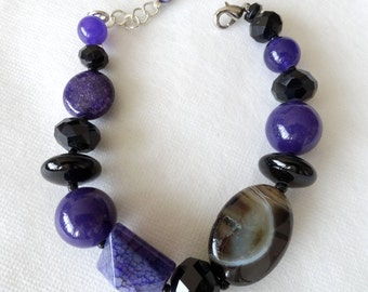Purple Amethyst, Black Onyx and Agate Stone Statement Chunky Bracelet; Gemstone Bracelet; Statement Bracelet