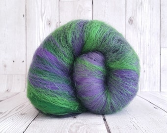 Spinning Fibre 100g, Hand Crafted Batt, Carded Felting Wool, Responsibly Sourced, Eco Friendly Wool, Hulk Inspired, Purple, Green, Black