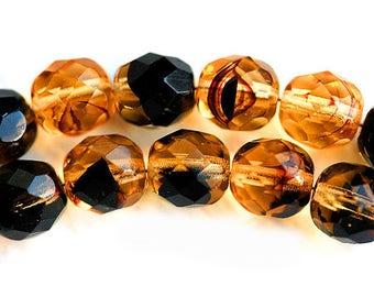 8mm Czech glass beads Topaz beads Black stripes Topaz Black mixed color fire polished ball beads - 15Pc - 3045