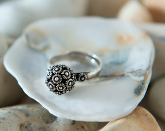 Statement Silver Ring, Boho Ring, Sterling Silver Ring, Adjustable Ring, Ball Ring, Sphere Ring, Oxidised Silver, Flower Ring, Gift For Her