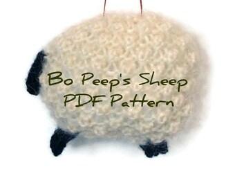 Knitting PDF Sheep Pattern White Wool Mohair Sheep Ornament Knit Instructions Lamb Ornament Holiday Decor Knit Ornament