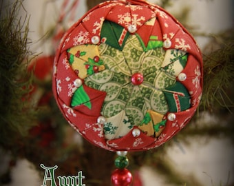 Handmade Quilted & Beaded Christmas Ball Ornament Red Green Yellow