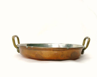 VINTAGE COPPER Escargot Pan with Two Brass Handles / Traditional individual serving dish with 6 recessed areas for snails or appetizers 6x1""