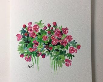 Peonies in Bloom Watercolor Card / Hand Painted Watercolor Card