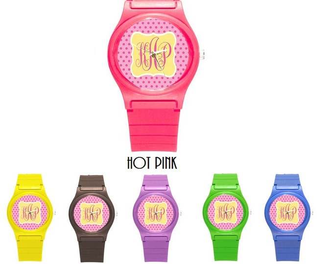 Monogrammed Rubber Petite Watch- Mix and Match Patterns and Colors