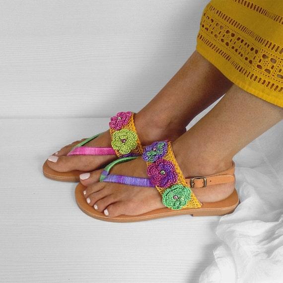 Women's Sandals Summer Sandals RAINBOW Sandals Leather Shoes Slip Greek Sandals Bohemian On Sandals Strappy Sandals Crochet RRIXq1