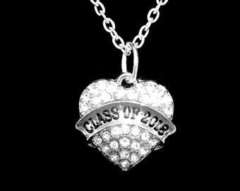 Class Of 2018 Crystal Heart Graduation Gift Charm Charm Necklace