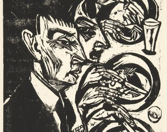 20th Century Expressionism: Nervous People at Dinner (Nervoese beim Diner), 1916  by Ernst Ludwig Kirchner. Fine Art Reproduction.
